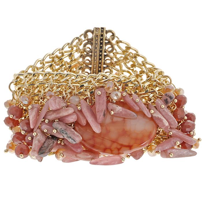 Браслет Taya, цвет: золотистый, коралловый. T-B-8219-BRAC-CORALT-B-8219-BRAC-CORALСтильный браслет Taya состоит из восьми рядов цепочки и оформлен элементами из пластиковых бусин кораллового цвета и камня. Застегивается на магниты. Такой браслет позволит вам с легкостью создать собственный неповторимый образ.