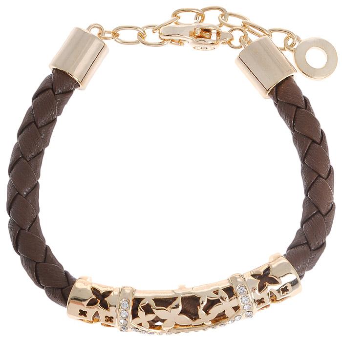 Браслет Fashion Jewelry, цвет: золотистый, коричневый. Б-191-КБ-191-КБраслет Fashion Jewelry представляет собой плетенный ремешок выполненный из искусственной кожи с декоративным элементом. Декоративный элемент выполнен из металла и украшен стразами. Браслет имеет надежную застежку-карабин с регулирующей длину цепочкой. Такой браслет позволит вам быть оригинальной и изящной и создать свой неповторимый образ. Красивое и необычное украшение блестяще подчеркнет изысканный вкус, женственность и красоту своей обладательницы и поможет внести разнообразие в привычный образ.
