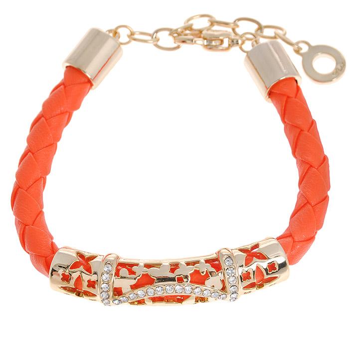 Браслет Fashion Jewelry, цвет: золотистый, оранжевый. Б-191-ОБ-191-ОБраслет Fashion Jewelry представляет собой плетенный ремешок выполненный из искусственной кожи с декоративным элементом. Декоративный элемент выполнен из металла и украшен стразами. Браслет имеет надежную застежку-карабин с регулирующей длину цепочкой. Такой браслет позволит вам быть оригинальной и изящной и создать свой неповторимый образ. Красивое и необычное украшение блестяще подчеркнет изысканный вкус, женственность и красоту своей обладательницы и поможет внести разнообразие в привычный образ.