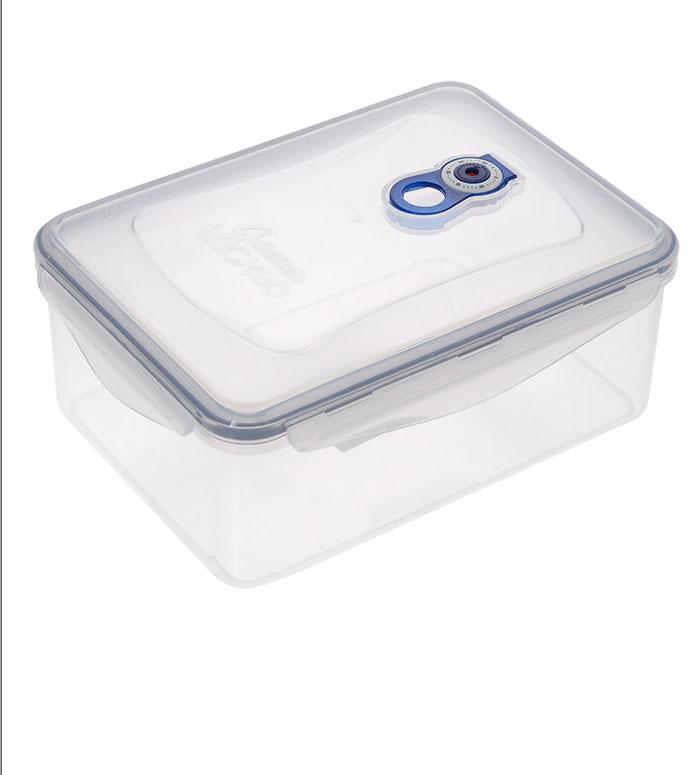 Контейнер вакуумный для хранения продуктов Bohmann, 1,15 л062BHПрямоугольный вакуумный контейнер для хранения продуктов Bohmann изготовлен из прочного пищевого пластика. Для более надежного крепления и сохранения герметичности на крышке имеются четыре защелки. Также крышка оснащена календариком для выставления даты или определения срока годности. Для создания вакуума необходимо плотно закрыть контейнер, защелкнув боковые ручки и клапан на крышке контейнера, и надавить на крышку. Контейнер пригоден для использования в микроволновой печи и для хранения в морозильной камере. В герметичном контейнере Bohmann продукты защищены от окисления, влажности, пыли и бактерий!