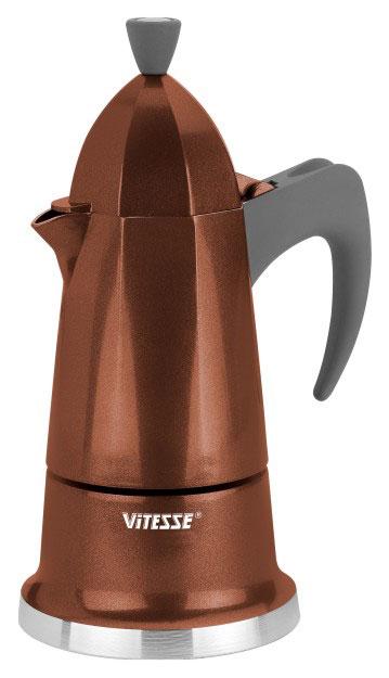 Кофеварка-эспрессо Vitesse на 6 чашек, цвет: коричневыйVS-2601Теперь и дома вы сможете насладиться великолепным эспрессо благодаря кофеварке Vitesse, которая позволит вам приготовить ароматный напиток на 6 персон. Новый стильный дизайн кофеварки станет ярким элементом интерьера вашего дома! Корпус кофеварки изготовлен из высококачественного алюминия, ручка - жаропрочная бакелитовая. Кофеварка состоит из двух соединенных между собой емкостей. В нижнюю емкость наливается вода, в эту же емкость устанавливается фильтр-сифон, в который засыпается кофе. К нижней емкости прикручивается верхняя емкость, после чего кофеварка ставится на электроплитку, и через несколько минут кофе начинает брызгать в верхний контейнер и осаждаться. Кофе получается крепкий и насыщенный. Инструкция по эксплуатации кофеварки прилагается. Можно мыть в посудомоечной машине.