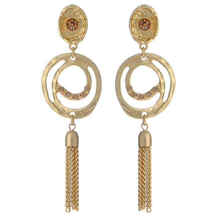 Серьги Fashion Jewelry, цвет: золотистый. AL73218AL73218Оригинальные серьги Fashion Jewelry, выполненные из металла золотистого цвета с подвеской, украшены стразами из стекла. Такие серьги помогут создать вам свой неповторимый стиль. Серьги-подвески застегиваются на пластиковую застежку-гвоздик. Серьги Fashion Jewelry позволят вам с легкостью воплотить самую смелую фантазию и создать собственный, неповторимый образ.