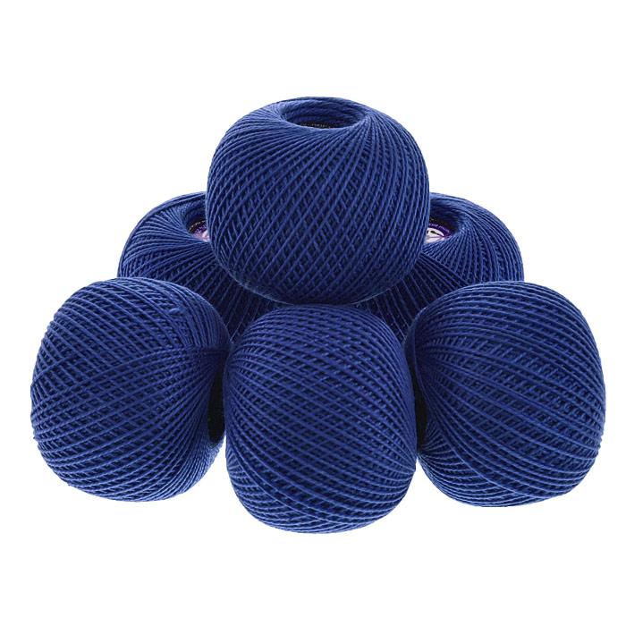 Нитки вязальные Ирис, хлопчатобумажные, цвет: темно-синий (2614), 150 м, 25 г, 6 шт0211102095778