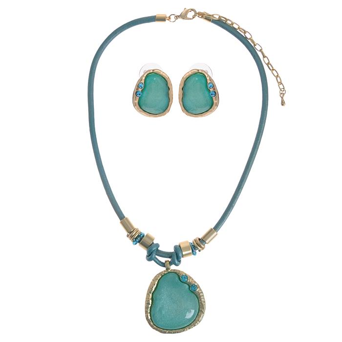 Комплект украшений 'Fashion Jewelry': колье, серьги, цвет: золотистый, бирюзовый. AH71178
