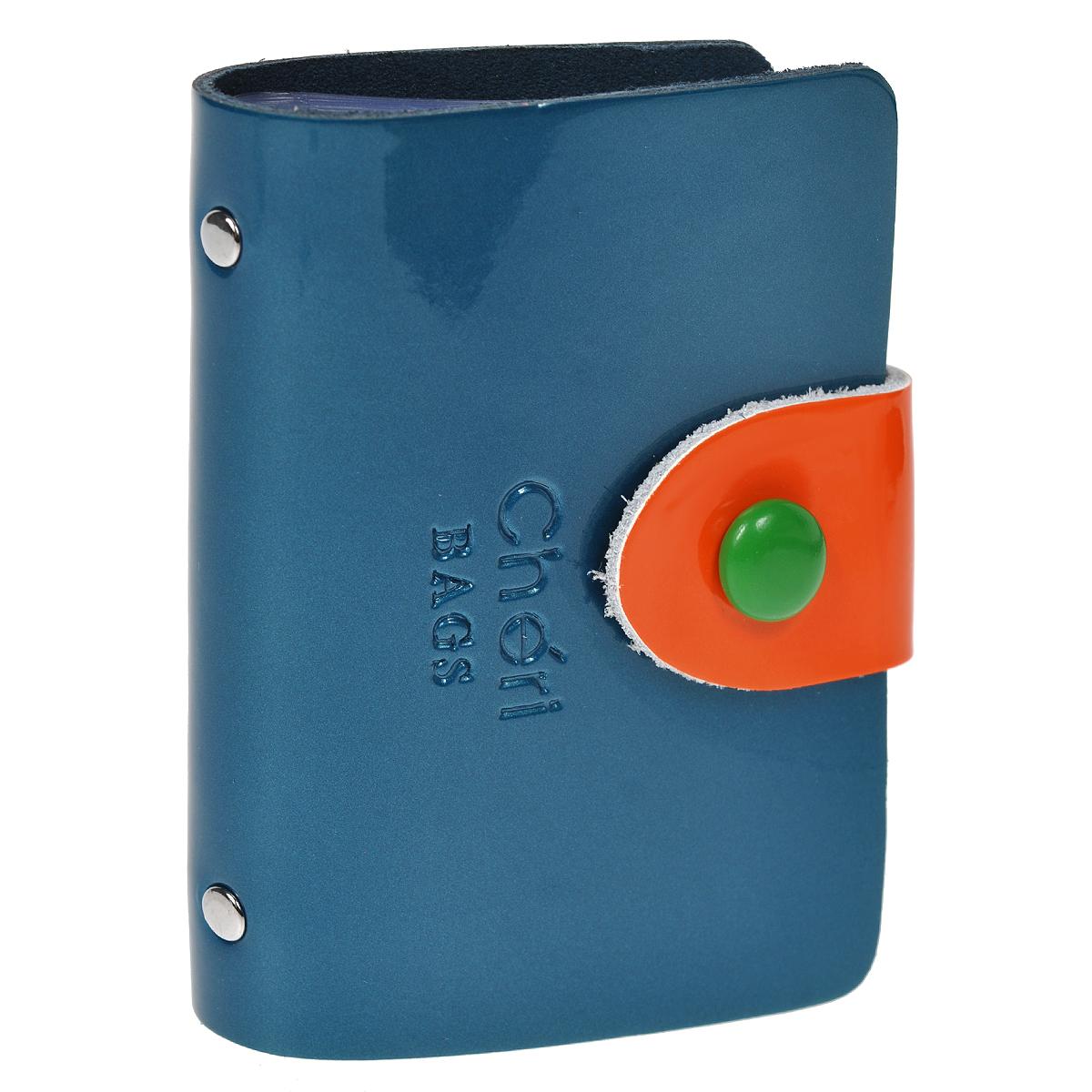 Визитница Cheribags, цвет: синий, оранжевый. V-0499-15V-0499-15Элегантная визитница Cheribags - стильная вещь для хранения визиток. Визитница выполнена из натуральной лаковой кожи, закрывается с помощью хлястика на металлическую кнопку. Внутри содержит блок из мягкого пластика, рассчитанный на 26 визиток. Такая визитница станет замечательным подарком человеку, ценящему качественные и практичные вещи.