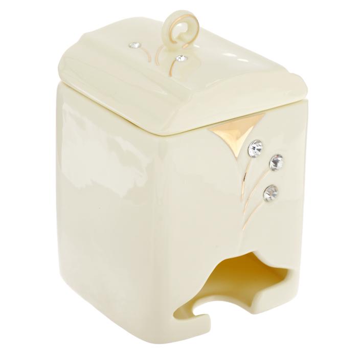 Банка-домик для чайных пакетиков Желтая фантазия. 595-377595-377Банка-домик для чайных пакетиков Желтая фантазия изготовлена из высококачественного фарфора цвета слоновой кости. Крышка и корпус банки декорированы стразами и рельефом, покрытым золотистой эмалью. Элегантная банка-домик для чайных пакетиков Желтая фантазия идеально подойдет для сервировки стола и станет отличным подарком к любому празднику. Банка упакована в подарочную коробку.