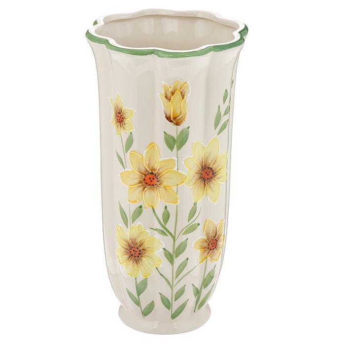 Ваза Цинния, керамическая, высота 25 см. 559-012559-012Ваза Цинния, выполненная из керамики, украсит интерьер вашего дома или офиса. Оригинальный дизайн и красочное исполнение создадут праздничное настроение. Вы можете поставить вазу в любом месте, где она будет удачно смотреться, и радовать глаз. Такая ваза подойдет и для цветов, и для декора интерьера. Кроме того - это отличный вариант подарка для ваших близких и друзей.