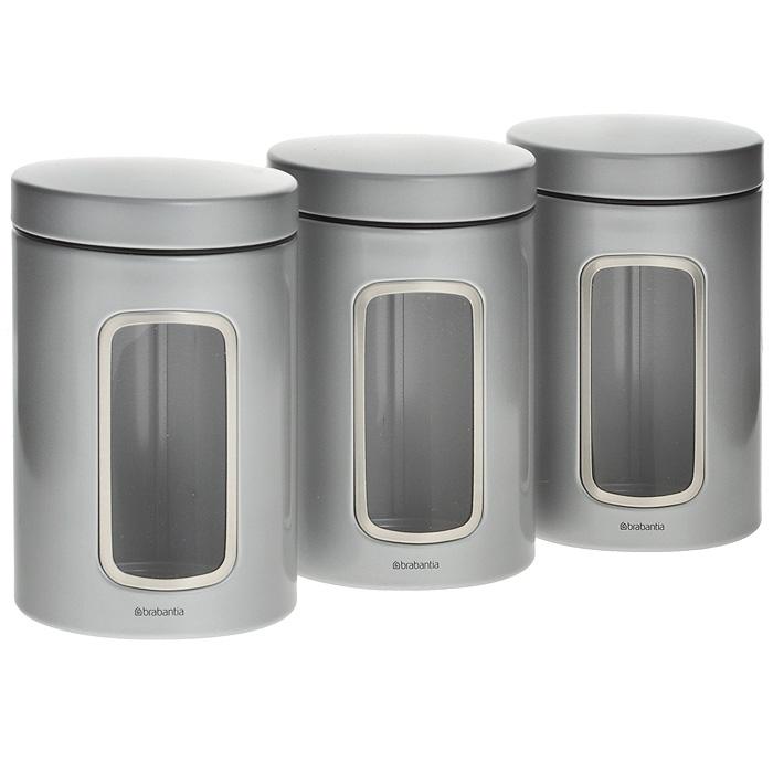 Набор контейнеров для сыпучих продуктов Brabantia, цвет: серый, 1,4 л, 3 шт. 247224247224Набор Brabantia состоит из трех контейнеров, выполненных из нержавеющей стали с покрытием серого цвета. Контейнеры предназначены для хранения кофе, чая, сахара, круп и других сыпучих продуктов. Изделия оснащены удобными плотно закрывающимися крышками, что дольше сохранит продукты свежими. Внешние стенки имеют прозрачные окошки. Стильный набор современного дизайна не только послужит функционально, но и красиво оформит интерьер вашей кухни.