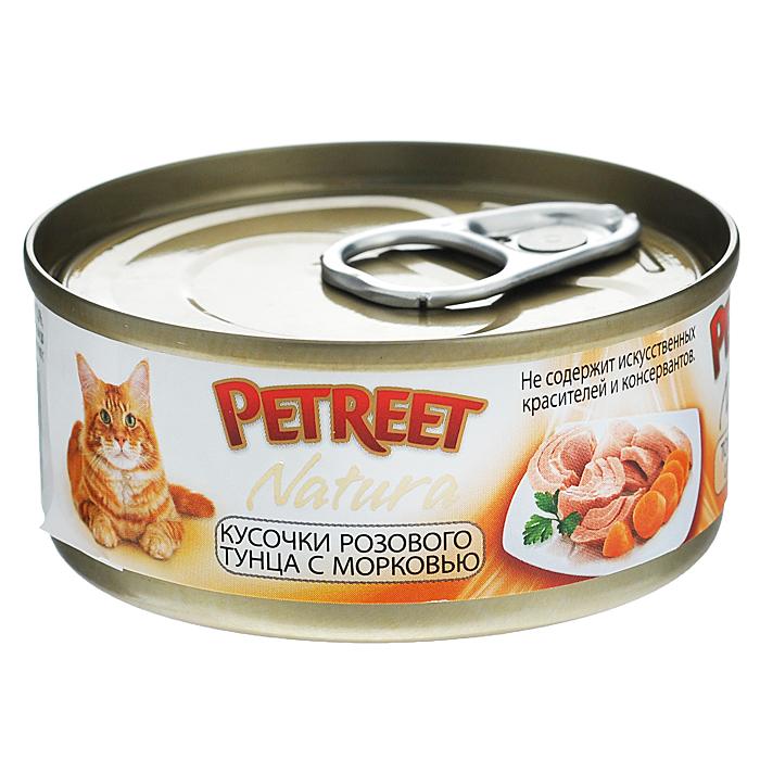 Консервы для кошек Petreet Natura, с кусочками розового тунца и морковью, 70 гА53064Полноценный сбалансированный корм для взрослых кошек всех пород. Консервы Petreet в виде нежного паштета изготовлены исключительно из натуральных продуктов и не оставят равнодушным ни одного питомца. В их состав входит до 64% основного компонента - мяса тунца, а это значит, что продукт богат протеином - источником бодрости вашей кошки. Для поддержания здоровья внутренних органов и зрения в состав консервов входит аргинин, таурин и незаменимые жирные кислоты Омега 3 и Омега 6. При умеренной калорийности в корме содержится высокий уровень белка (15%). Уникальный высокоусвояемый полноценный гипоаллергенный рацион с низким показателем зольности (0,5%). Идеально подходит для кастрированных и стерилизованных кошек. Состав: тунец (60%), морковь (4%), рисовая мука (1%), витамины А, D3, Е. Анализ: влажность - 84,0%, белок - 15,0%, клетчатка - 0,3%, жир - 1,6%, зола - 0,5%, витамин А - 666 МЕ/кг, витамин D3 - 50 МЕ/кг, витамин Е - 20 МЕ/кг. Вес 70 г. Товар...
