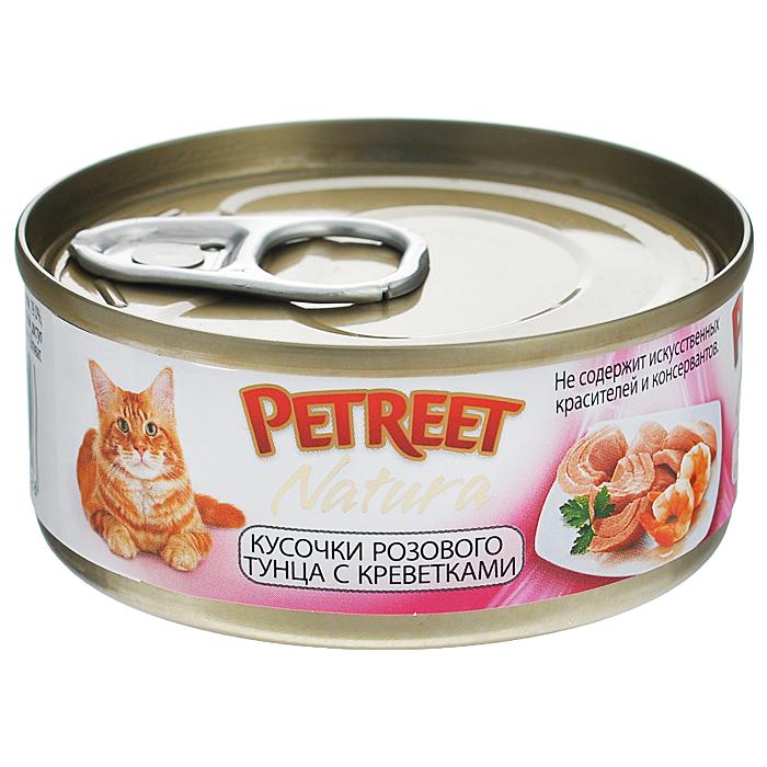 Консервы для кошек Petreet Natura, с кусочками розового тунца и креветками, 70 гА53062Полноценный сбалансированный корм для взрослых кошек всех пород. Консервы Petreet в виде нежного паштета изготовлены исключительно из натуральных продуктов и не оставят равнодушным ни одного питомца. В их состав входит до 64% основного компонента - мяса тунца, а это значит, что продукт богат протеином - источником бодрости вашей кошки. Для поддержания здоровья внутренних органов и зрения в состав консервов входит аргинин, таурин и незаменимые жирные кислоты Омега 3 и Омега 6. Идеально подходит для кастрированных и стерилизованных кошек. Некоторые виды содержат рис, восполняющий недостаток витамина В. В состав консервов входят различные деликатесные добавки в виде морепродуктов, овощей и фруктов, так что можно легко выбрать подходящий вариант даже для самой привередливой кошки Основу консервов Petreet Natura с кусочками розового тунца и креветками, нежное розовое мясо стейковой части тунца с добавлением креветок. При умеренной калорийности в корме содержится высокий уровень...