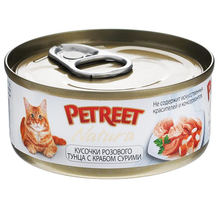 Консервы для кошек Petreet Natura, с кусочками розового тунца и крабом сурими, 70 гА53070Полноценный сбалансированный корм для взрослых кошек всех пород. Консервы Petreet в виде нежного паштета изготовлены исключительно из натуральных продуктов и не оставят равнодушным ни одного питомца. В их состав входит до 64% основного компонента - мяса тунца, а это значит, что продукт богат протеином - источником бодрости вашей кошки. Для поддержания здоровья внутренних органов и зрения в состав консервов входит аргинин, таурин и незаменимые жирные кислоты Омега 3 и Омега 6. Идеально подходит для кастрированных и стерилизованных кошек. Некоторые виды содержат рис, восполняющий недостаток витамина В. В состав консервов входят различные деликатесные добавки в виде морепродуктов, овощей и фруктов, так что можно легко выбрать подходящий вариант даже для самой привередливой кошки Основу консервов Petreet Natura с кусочками розового тунца и лобстером, нежное розовое мясо стейковой части тунца с добавлением мяса краба. При умеренной калорийности в корме содержится высокий уровень...