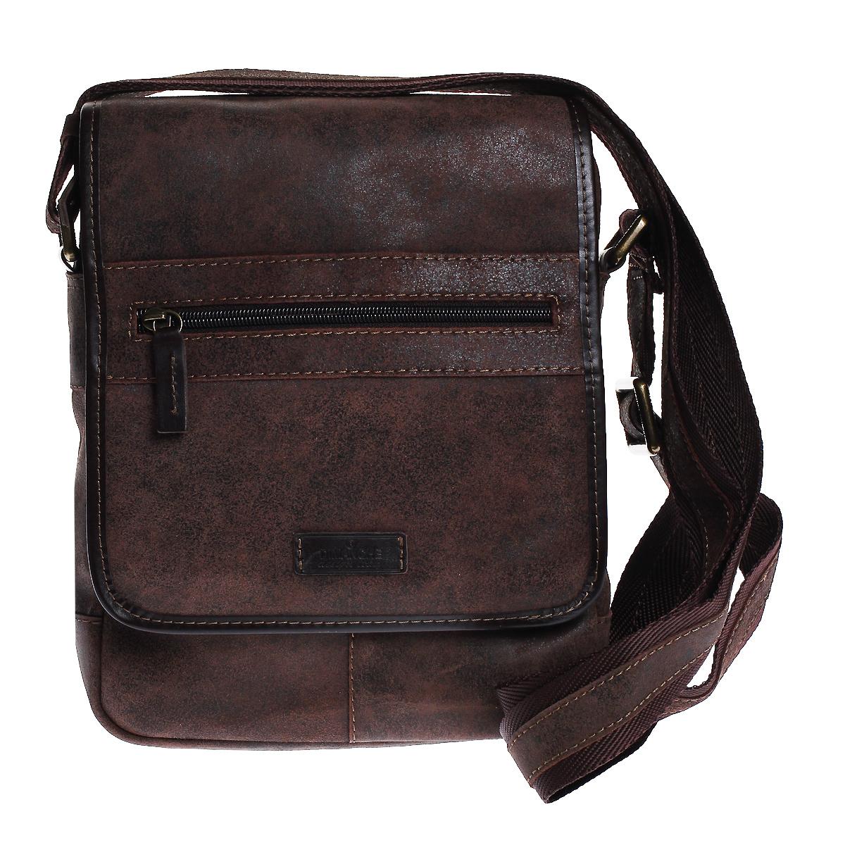 Сумка мужская Dimanche Кантри, цвет: коричневый. 879/35879/35Стильная мужская сумка через плечо Dimanche Кантри, выполненная из натуральной кожи, компактная, но в то же время функциональная. Удобная и эффектная сумка на каждый день. Модель имеет одно вместительное отделение, закрывающееся застежкой-молнией и дополнительно клапаном на магнитную кнопку. Под клапаном - плоский карман на застежке-молнии. На клапане - небольшой карман на застежке-молнии. Задняя сторона также дополнена карманом на застежке-молнии. Сумка дополнена регулируемым плечевым ремнем.