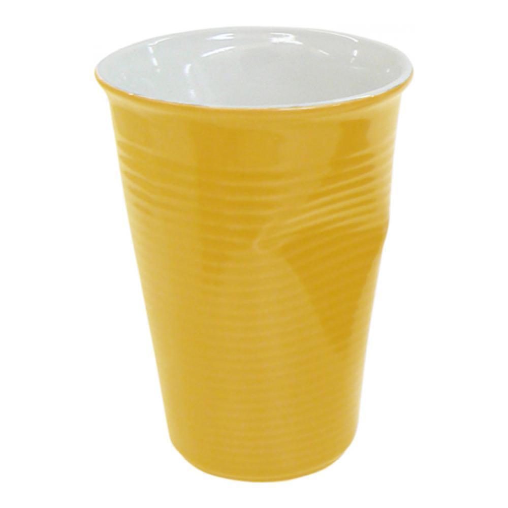 Мятый стаканчик керамический желтый 0,24л080720GМятый стаканчик керамический желтый 0,24л