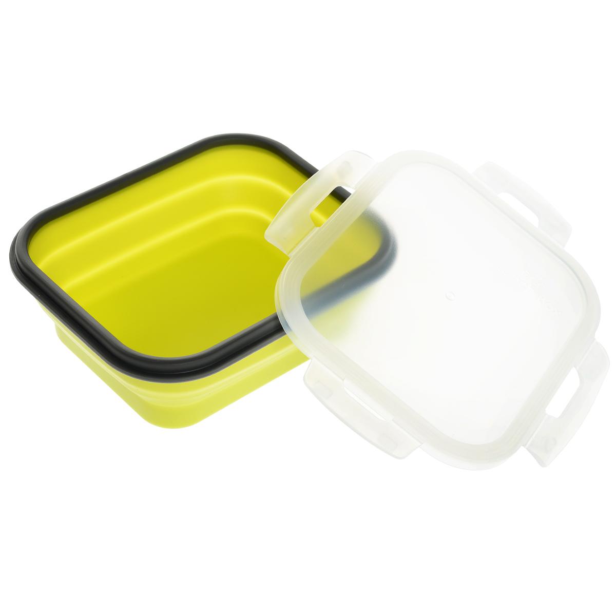 Контейнер силиконовый, складной, 18 х 15 х 7 см842-003Складной контейнер с крышкой, выполненный из силикона, это удобная и легкая тара для хранения и транспортировки бутербродов, порционных салатов, мяса или рыбы, горячих и холодных блюд, даже жидких продуктов. Силикон - экологически безопасный материал, не выделяющий вредных веществ при взаимодействии с пищей. Если у вас вошло в привычку брать на работу домашнюю еду, с этим контейнером вы можете разнообразить свой рацион. После использования контейнер можно просто сложить, он становится в два раза меньше по высоте и легко поместится в сумку. Необычная форма, яркий цвет, более удобная конструкция - все это отличает контейнер от других лоточков. Контейнер абсолютно герметичен. Пластиковая крышка оснащена четырьмя специальными защелками.