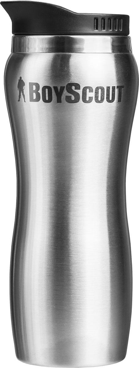Термостакан Boyscout, цвет: стальной, черный, 450 мл61050Термостакан Boyscout изготовлен из нержавеющей стали и предназначен для заполнения горячими и холодными напитками в путешествии, на даче и на пикнике. Изделие оснащено пластиковой крышкой с подвижным клапаном, открывающим по вашему желанию небольшое отверстие для выливания жидкости. Нельзя использовать термостакан в микроволновой печи и помещать в морозильную камеру. Размер стакана: 9 см х 21,5 см.