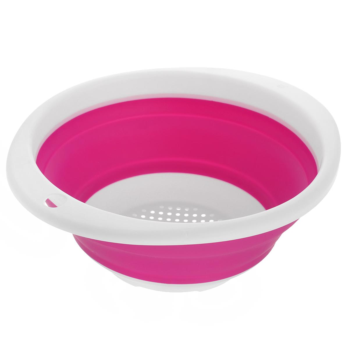 Дуршлаг Идея, складной, цвет: розовый. CLD-02CLD-02Дуршлаг складной Идея, изготовленный из высококачественного пищевого силикона, станет полезным приобретением для вашей кухни. Он идеально подходит для процеживания, ополаскивания и стекания макарон, овощей, фруктов. Нельзя мыть и сушить в посудомоечной машине. Внутренний диаметр: 18 см. Размер (в разложенном виде): 23 см х 20 см х 9 см. Размер (в сложенном виде): 23 см х 20 см х 3 см.
