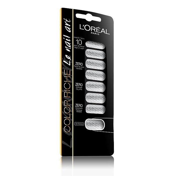LOreal Paris Стикеры для ногтей Color Riche, оттенок 012, Бриллианты вечны, 18 стикеровA6768900Стикеры для ногтей Color Riche обеспечивают безупречное покрытие ногтей самыми элегантными текстурами. Стойкость до 10 дней. Легко наносится и легко снимается. Не требуется сушка или средство для снятия лака.
