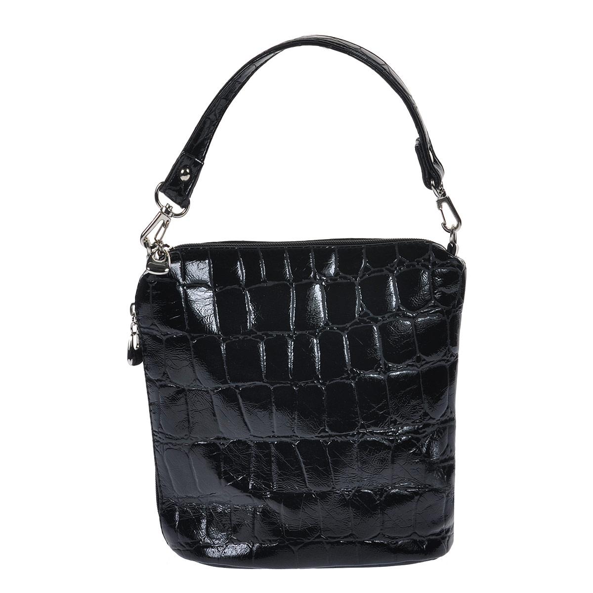Сумка женская Antan, цвет: черный полуматовый. 9-633 В9-633 В Крокодил полуматовый/черныйЖенская сумка Antan выполнена из искусственной кожи. Сумка состоит из одного отделения, закрывающегося на застежку-молнию. Внутри вшитый карман на молнии. Дополнительно сбоку имеется карман также на застежке-молнии. Сумка имеет два съемных ремешка разной длины. Сумка - это стильный аксессуар, который подчеркнет вашу изысканность и индивидуальность и сделает ваш образ завершенным. Размер сумки: 23 см х 21 см х 10 см.