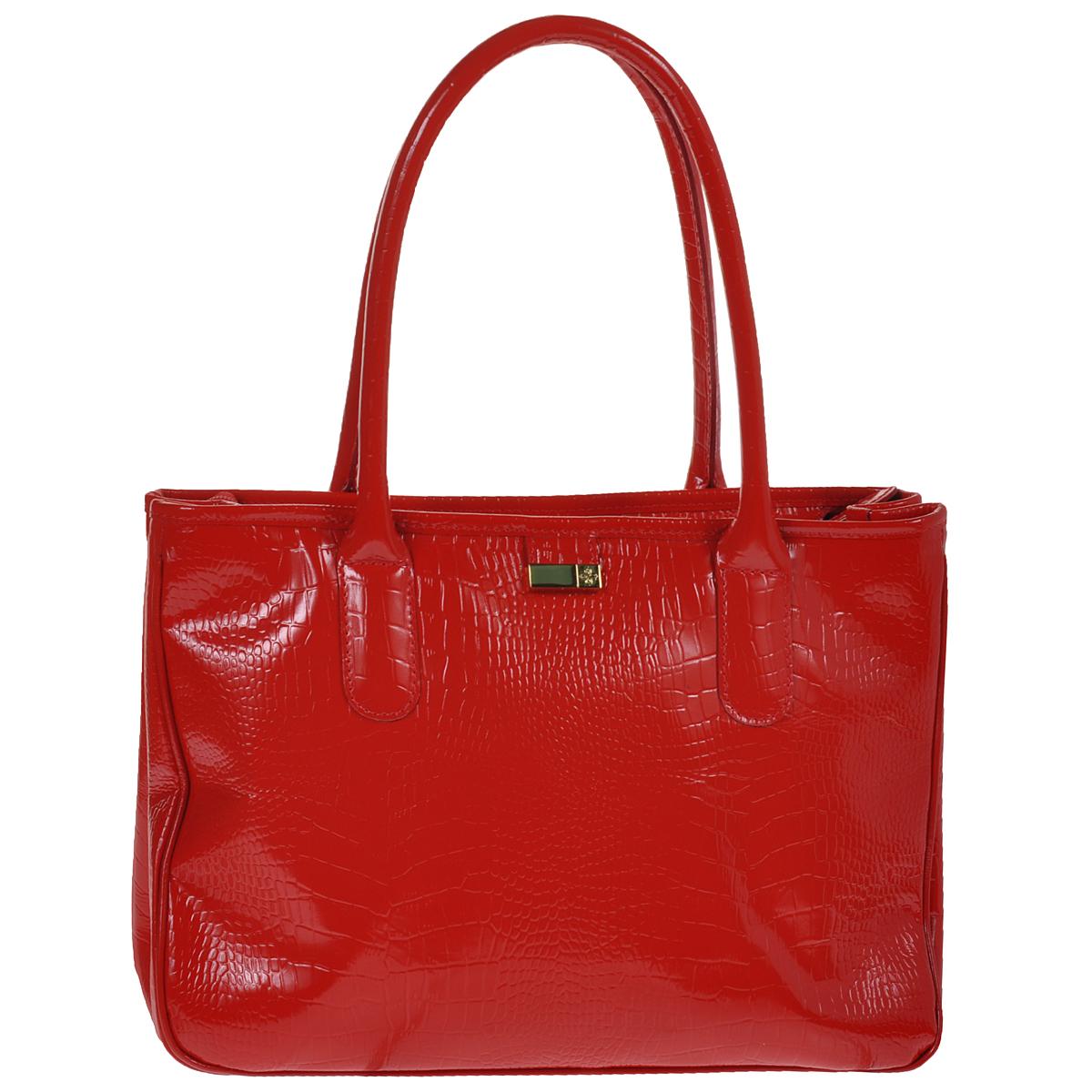 Сумка женская Dimanche Кристи, цвет: красный. 443/4443/4Стильная женская сумка Dimanche Кристи выполнена из натуральной высококачественной кожи. Сумка имеет одно отделение, разделенное средником на молнии, и закрывается на застежку-молнию. Внутри - два накладных кармашка и карман на молнии. На задней стенке имеется дополнительный карман на молнии. По бокам сумка имеет кнопки, которые позволяют изменять ее форму. Сумка оснащена двумя удобными ручками. Фурнитура - серебристого цвета. Сумка упакована в фирменный текстильный мешок. Сумка женская Dimanche Кристи подчеркнет вашу яркую индивидуальность и сделает образ завершенным.