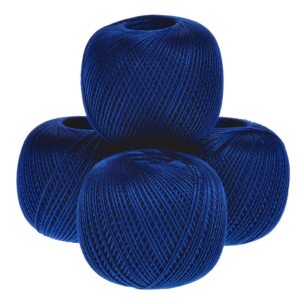 Нитки вязальные Нарцисс, хлопчатобумажные, цвет: темно-синий (2411), 395 м, 100 г, 4 шт0211402071778