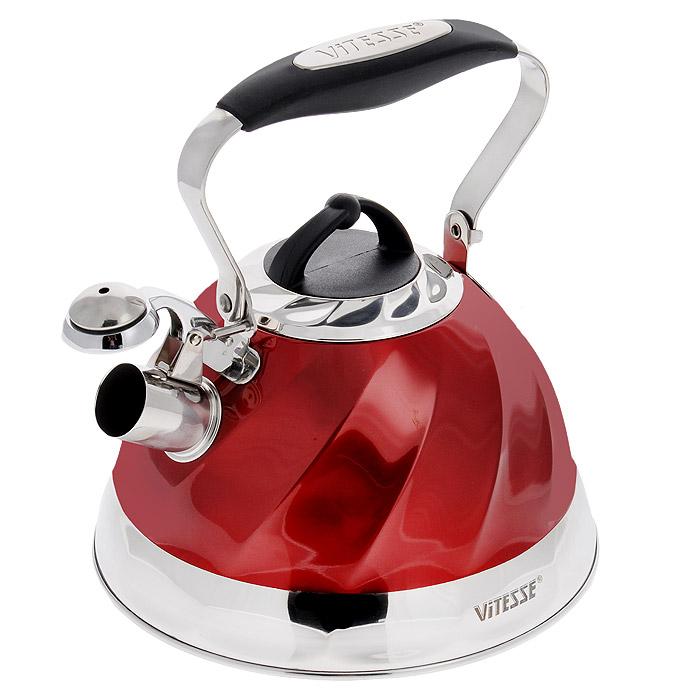 Чайник Vitesse Thelma, со свистком, цвет: красный, 3 лVS-1119Чайник Vitesse Thelma изготовлен из высококачественной нержавеющей стали 18/10. Внешнее цветное термостойкое покрытие корпуса придает изделию безупречный внешний вид. Многослойное капсулированное термоаккумулирующее дно позволяет чайнику нагреваться быстрее и дольше сохранять тепло. Чайник оснащен подвижной металлической ручкой эргономичной формы с силиконовым покрытием черного цвета. Крышка оснащена ручкой из термостойкого бакелита. Чайник также имеет свисток, громко оповещающий о закипании воды. Свисток имеет оригинальный механизм подъема: свисток поднимается, когда ручка чайника находится в вертикальном положении. Это обеспечивает безопасность эксплуатации и предотвращение ожогов. Можно использовать на газовых, электрических, стеклокерамических, галогенных, индукционных плитах. Можно мыть в посудомоечной машине.