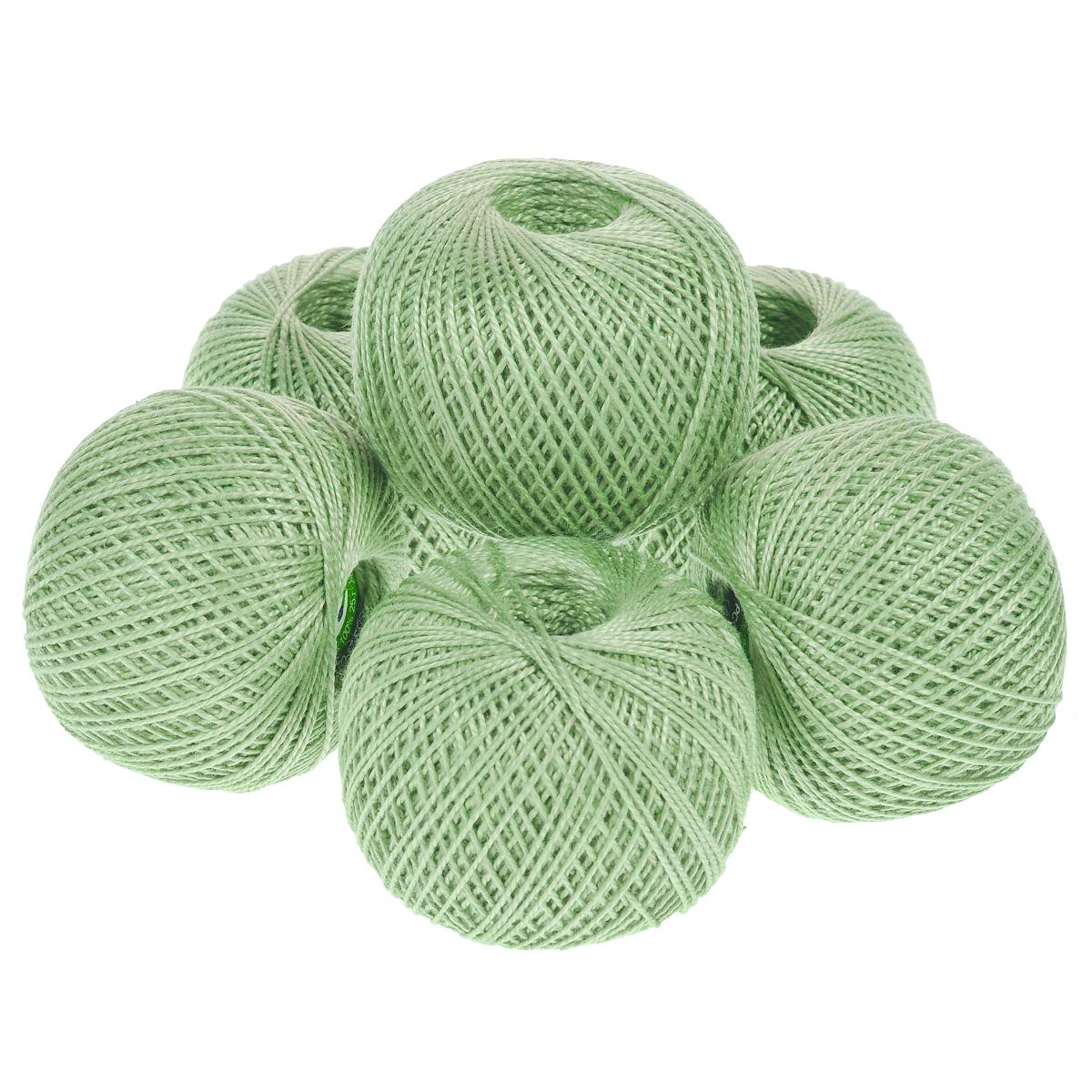 Нитки вязальные Ирис, хлопчатобумажные, цвет: бледно-зеленый (4002), 150 м, 25 г, 6 шт0211102209778