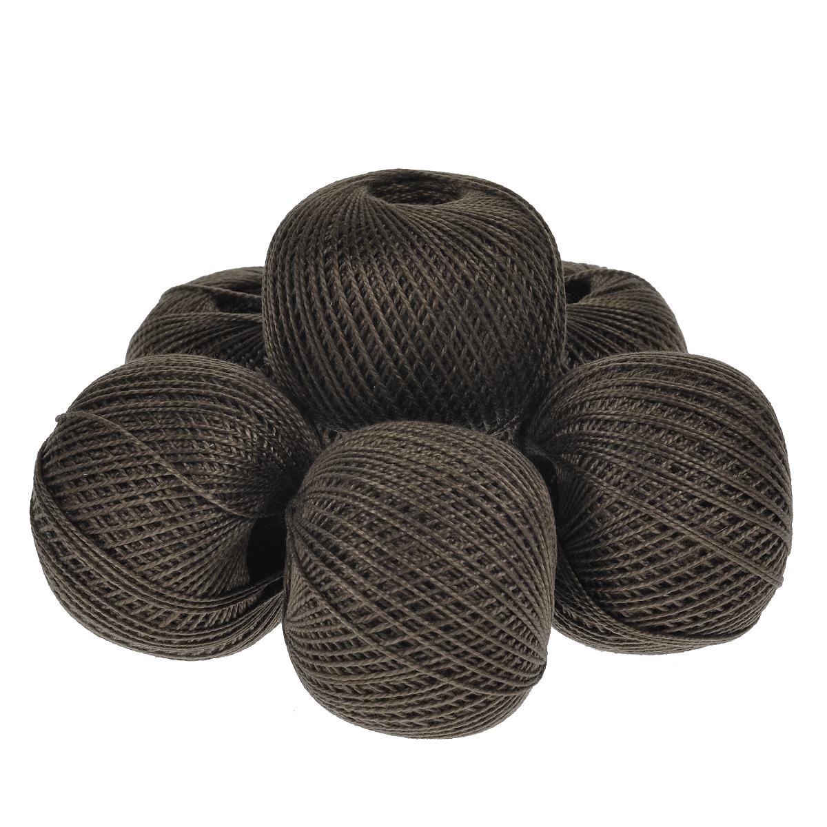 Нитки вязальные Ирис, хлопчатобумажные, цвет: темно-коричневый (5812), 150 м, 25 г, 6 шт0211102365778