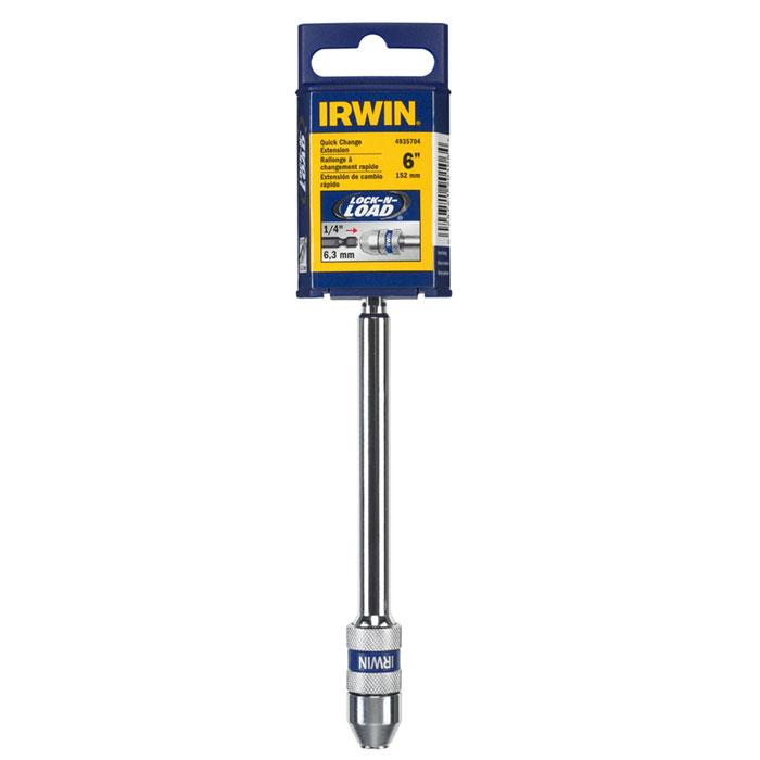 Держатель магнитный для бит и сверл Irwin, 1/4, длина 15 см10508167Держатель Irwin с системой фиксации Lock-N-Load предназначен для быстрой замены бит и сверл. Позволяет менять оснастку одной рукой. Губки конструкции надежно удерживают сверло с хвостиком и с 6 лысками, а также сверла с шаровым фиксатором. Конструкция, изготовленная из углеродной стали (втулка и корпус), обеспечивает надежность и продлевают срок службы. Удерживают биты Insert.