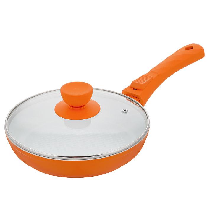 Сковорода Bohmann с крышкой, со съемной ручкой, с керамическим покрытием, цвет: оранжевый. Диаметр 20 см. 7020BH/2WC7020BH/2WC оранжСковорода Bohmann изготовлена из литого алюминия с антипригарным керамическим покрытием. Антипригарное покрытие содержит 5 слоев: - бесцветное огнеупорное покрытие, - жаропрочный базовый слой, - алюминий, - керамический базовый слой, - керамический защитный слой. Внешнее покрытие - жаростойкий лак красного цвета, который сохраняет цвет долгое время и обладает жироотталкивающими свойствами. Благодаря керамическому покрытию пища не пригорает и не прилипает к поверхности сковороды, что позволяет готовить с минимальным количеством масла. Кроме того, такое покрытие абсолютно безопасно для здоровья человека, так как не содержит вредной примеси PTFE. Рифленая внутренняя поверхность сковороды в виде сот обеспечивает быстрое и легкое приготовление. Достоинства керамического покрытия: - устойчивость к высоким температурам и резким перепадам температур, - устойчивость к царапающим кухонным принадлежностям и...