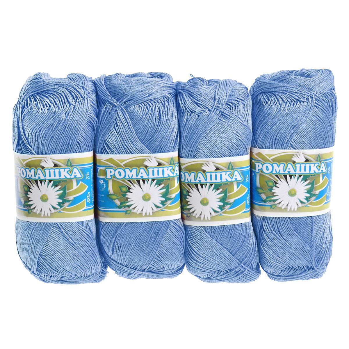 Нитки вязальные Ромашка, хлопчатобумажные, цвет: голубой (2706), 320 м, 75 г, 4 шт0211302101778