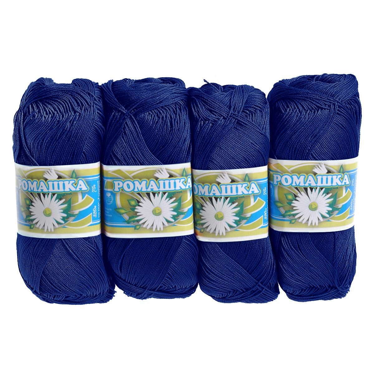 Нитки вязальные Ромашка, хлопчатобумажные, цвет: темно-синий (2411), 320 м, 75 г, 4 шт0211302071778
