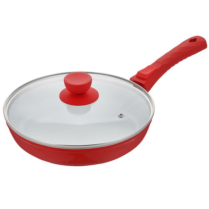 Сковорода Bohmann с крышкой, со съемной ручкой, с керамическим покрытием, цвет: красный. Диаметр 22 см. 7022BH/2WC7022BH/2WC красныйСковорода Bohmann изготовлена из литого алюминия с антипригарным керамическим покрытием. Антипригарное покрытие содержит 5 слоев: - бесцветное огнеупорное покрытие, - жаропрочный базовый слой, - алюминий, - керамический базовый слой, - керамический защитный слой. Внешнее покрытие - жаростойкий лак, который сохраняет цвет долгое время и обладает жироотталкивающими свойствами. Благодаря керамическому покрытию, пища не пригорает и не прилипает к поверхности сковороды, что позволяет готовить с минимальным количеством масла. Кроме того, такое покрытие абсолютно безопасно для здоровья человека, так как не содержит вредной примеси PTFE. Рифленая внутренняя поверхность сковороды в виде сот обеспечивает быстрое и легкое приготовление. Достоинства керамического покрытия: - устойчивость к высоким температурам и резким перепадам температур, - устойчивость к царапающим кухонным принадлежностям и абразивным моющим средствам, ...