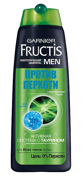 Garnier Шампунь Fructis Men, Против перхоти, для всех типов волос, 250 млC3845823Энергетический шампунь Fructis Men Против Перхоти для Всех типов волос. Обогащенная цинк пиритионом и ментолом, освежающая формула устраняет перхоть с 1-го применения обеспечивая антирецидивный эффект до 6 недель.
