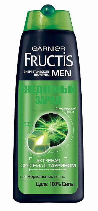 Garnier Шампунь Fructis Men, Ежедневный заряд, для нормальных волос, 400 млC3848422Энергетический шампунь Fructis Men Ежедневный заряд для Нормальных волос. Обогащенная экстрактом бамбука, формула укрепляет и тонизирует Ваши волосы. В 2 раза более сильные, они сохраняют ощущение свежести на весь день.