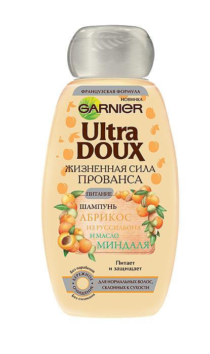 Garnier Шампунь Ultra Doux, Жизненная сила Прованса, Абрикос из Руссильона и масло миндаля, для нормальных волос, склонных к сухости, 200 мл