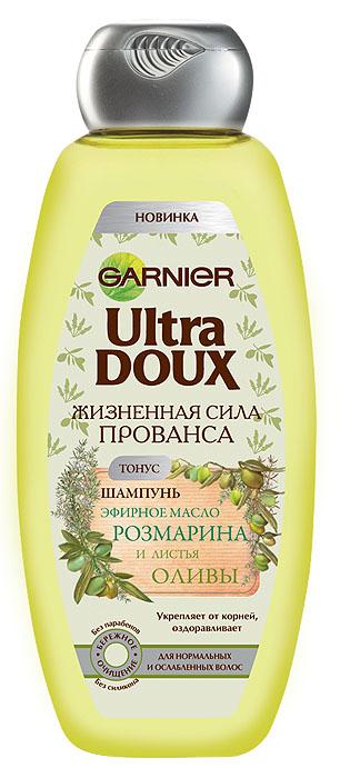 Garnier Шампунь Ultra Doux, Жизненная сила Прованса, Эфирное масло розмарина и листья оливы, для нормальных и ослабленных волос, 400 мл