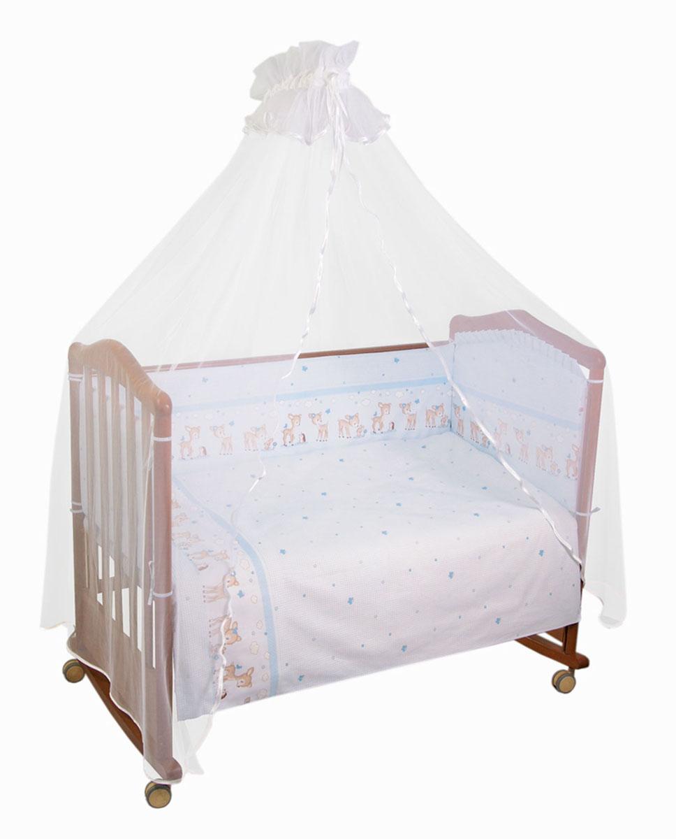 Бампер в кроватку Тайна снов Оленята, цвет: голубой127/1Бампер в кроватку Тайна снов Оленята состоит из четырех частей и закрывает весь периметр кроватки. Он крепится к кроватке с помощью специальных завязок, благодаря чему его можно поместить в любую детскую кроватку. Бампер выполнен из бязи - натурального хлопка безупречной выделки. Деликатные швы рассчитаны на прикосновение к нежной коже ребенка. Бампер оформлен изображениями очаровательных оленят. Наполнителем служит холлкон - экологически безопасный и гипоаллергенный материал. Чехол застегивается на пластиковую застежку-молнию и легко снимается для стирки. Бампер защитит ребенка от возможных ударов о деревянные или металлические части кроватки. Бортик подходит для кроватки размером 120 см х 60 см. Высота бортика 40 см.