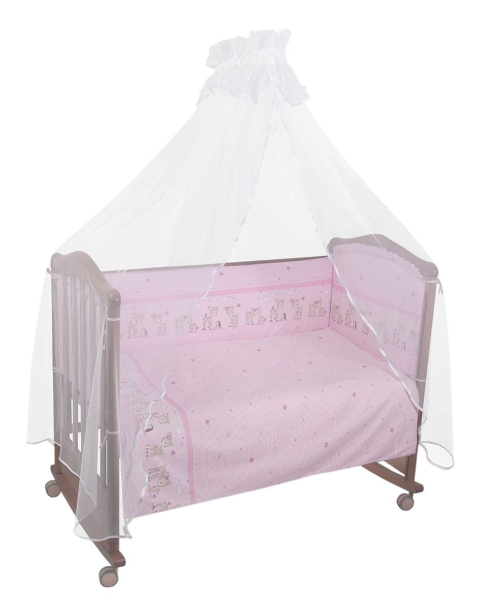 Бампер в кроватку Тайна снов Оленята, цвет: розовый127/2Бампер в кроватку Тайна снов Оленята состоит из четырех частей и закрывает весь периметр кроватки. Он крепится к кроватке с помощью специальных завязок, благодаря чему его можно поместить в любую детскую кроватку. Бампер выполнен из бязи - натурального хлопка безупречной выделки. Деликатные швы рассчитаны на прикосновение к нежной коже ребенка. Бампер оформлен изображениями очаровательных оленят. Наполнителем служит холлкон - экологически безопасный и гипоаллергенный материал. Чехол застегивается на пластиковую застежку-молнию и легко снимается для стирки. Бампер защитит ребенка от возможных ударов о деревянные или металлические части кроватки. Бортик подходит для кроватки размером 120 см х 60 см. Высота бортика 40 см.