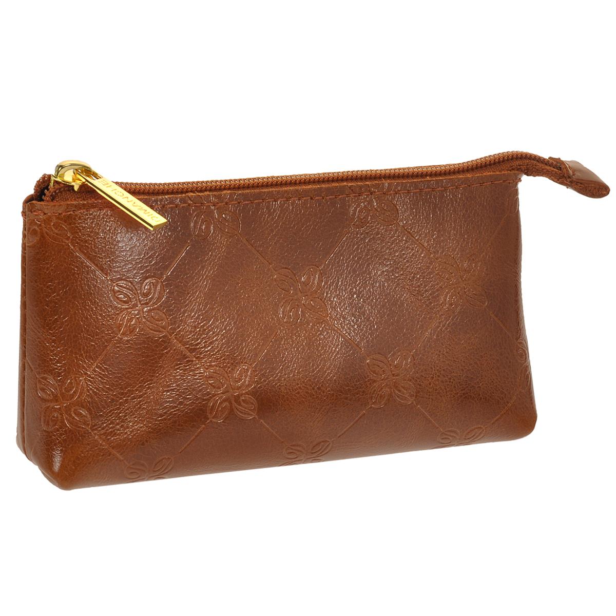 Ключница Dimanche Louis Brun, цвет: коричневый. 607607Компактная ключница Dimanche Louis Brun - стильная вещь для хранения ключей. Ключница выполнена из натуральной кожи. Состоит из одного отделения, закрывающегося на застежку-молнию. Внутри ключницы на шнурке крепится металлическое кольцо для ключей. . Модель эффектно смотрится в руке. Кожа роскошная, отделка аккуратная, ключницу с удовольствием берешь в руки и также с удовольствием ей пользуешься.