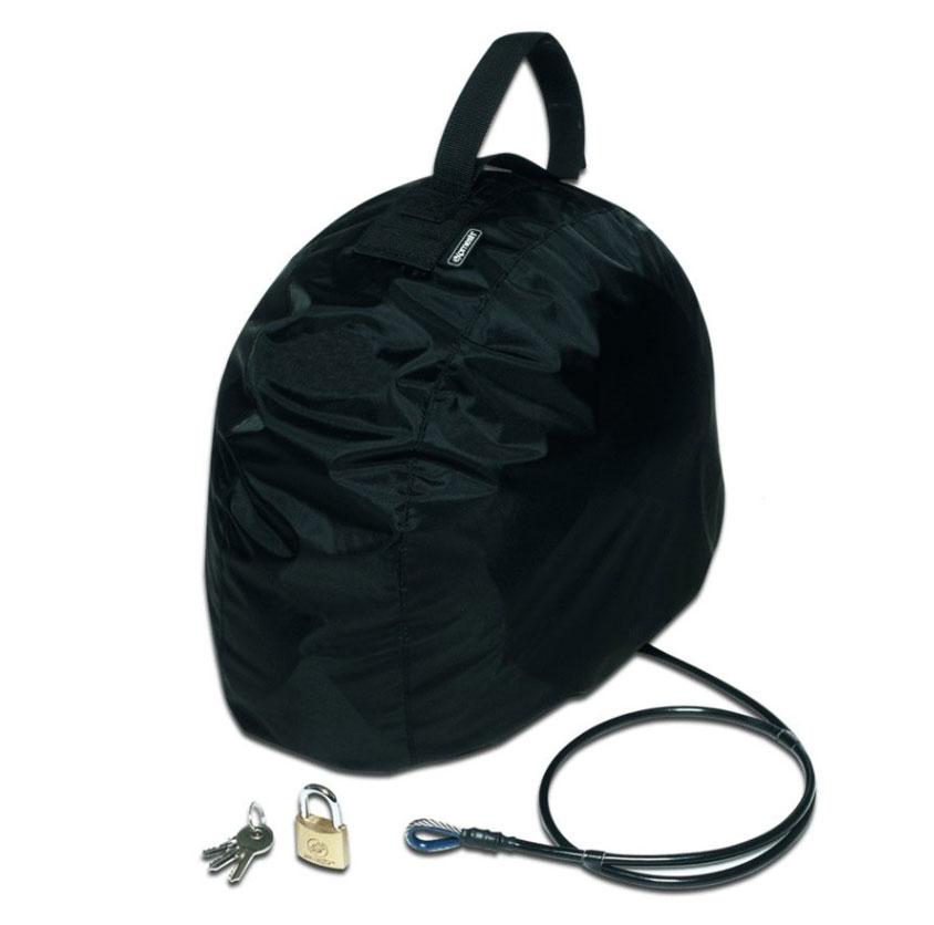 Сумка PacSafe для мотошлема с тросом Lidsafe, цвет: черныйPH000BKСумка PacSafe разработана специально для защиты вашего снаряжения от воров, а также дождя. С технологиями защиты eXomesh, Lidsafe и Stuffsafe, шлем, куртка, перчатки, сапоги и другие ценные вещи останутся сухими, безопасным и защищенным от любых угроз, включая погоду. Забудьте таскать свой шлем с собой. Заблокируйте и оставьте с вашим байком. Особенности: Водонепроницаемая крышка. Универсальный подвесной ремень. Компактно складывается до размера 11 см х 16 см. Транспортировочный чехол входит в комплект. Объем: 20 л.