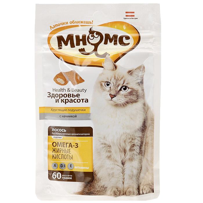 Лакомство для кошек Мнямс Здоровье и красота, с лососем, 60 г700026Лакомство для кошек Мнямс Здоровье и красота - это изысканное и полезное угощение, от которого не откажется даже самая привередливая и избалованная кошка. Хрустящие подушечки содержат нежный паштет из лосося. Входящие в состав Омега-3 жирные кислоты, витамины А, D3, Е предотвращают воспалительные процессы в организме, благотворно воздействуют на кожу и шерсть. Не содержит искусственных ароматизаторов и красителей. Норма употребления: давать в виде дополнения к основному питанию, не более 20 кусочков в день (в зависимости от размера и активности кошки). Подходит для котят с 4-х месяцев. Свежая вода должна быть всегда доступна Вашей кошке. Состав: злаки, мясо и продукты животного происхождения, масла и жиры (0,5% Омега 3 жирные кислоты), рыба и рыбные дериваты (4% лосось), экстракты растительного белка, молоко и молочные дериваты, минералы, витамин А 9000 ME/кг, витамин D3 630 ME/кг, витамин Е 90 мг/кг, антиоксиданты, красители. Белок 31%, жир 20%, клетчатка...