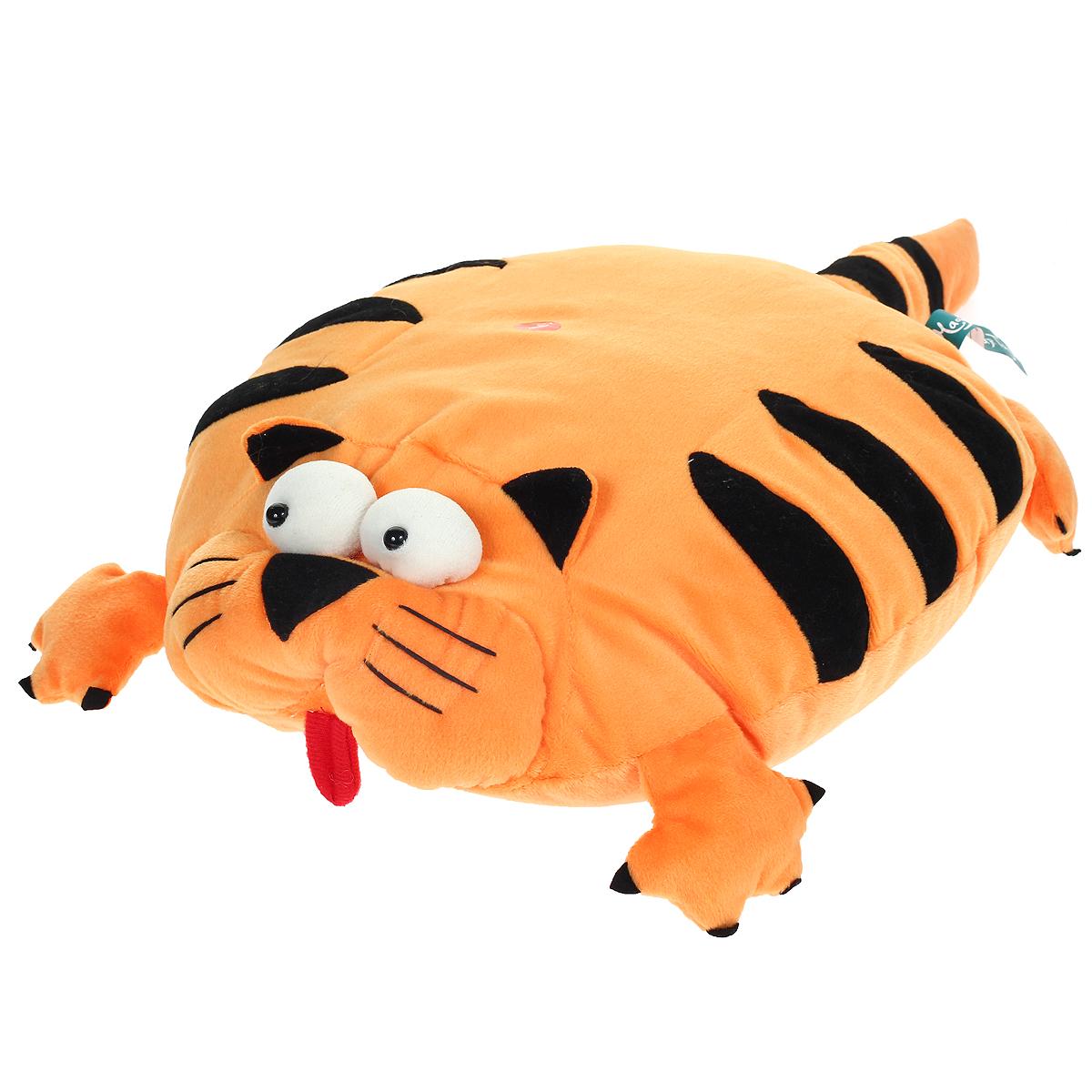 Мягкая озвученная игрушка-подушка Magic Bear Toys Тигр цвет: оранжевый, черныйSAF2005-ZF-M-4Очаровательная мягкая игрушка-подушка Magic Bear Toys Тигр не оставит равнодушным ни ребенка, ни взрослого. Приятная на ощупь игрушка выполнена в виде милого тигра с объемной головой, лапками и хвостом, туловище тигра является подушкой. Если нажать на подушку, то тигр будет рычать. Такая игрушка-подушка прекрасно дополнит интерьер детской комнаты.