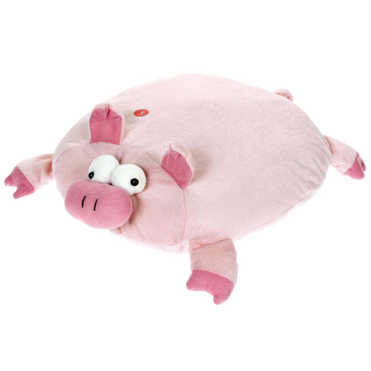 Мягкая озвученная игрушка-подушка Magic Bear Toys Поросенок цвет: розовыйSAF2005-ZF-M-5Очаровательная мягкая игрушка-подушка Magic Bear Toys Поросенок не оставит равнодушным ни ребенка, ни взрослого. Приятная на ощупь игрушка выполнена в виде милого поросенка с объемной головой, ножками и хвостом, туловище хрюшки является подушкой. Если нажать на подушку, то поросенок будет хрюкать. Такая игрушка-подушка прекрасно дополнит интерьер детской комнаты.