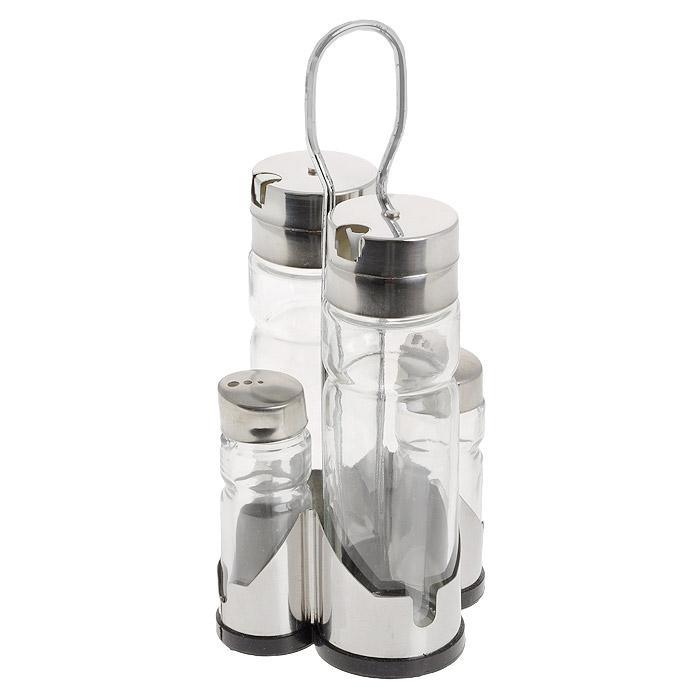 Набор для масла, уксуса и специй Amadeus, 5 предметов. 14ZB-401014ZB-4010Набор Amadeus выполнен из нержавеющей стали и стекла. Набор состоит из двух емкостей для специй и двух емкостей со специальными дозаторами для масла и уксуса. Емкости изготовлены из стекла с плотно закрывающимися крышками. Емкости компактно умещаются на металлической подставке и надежно удерживаются на ней. Набор станет отличным подарком каждой хозяйке и благодаря своим компактным размерам не займет много места на вашей кухне. Размер емкости для специй: 3 см х 3 см х 9 см. Размер емкости с дозатором: 4,5 см х 4,5 см х 15,5 см. Размер подставки: 11 см х 10,5 см х 22 см. Объем емкости с дозатором: 250 мл. Объем емкости для специй: 100 мл.