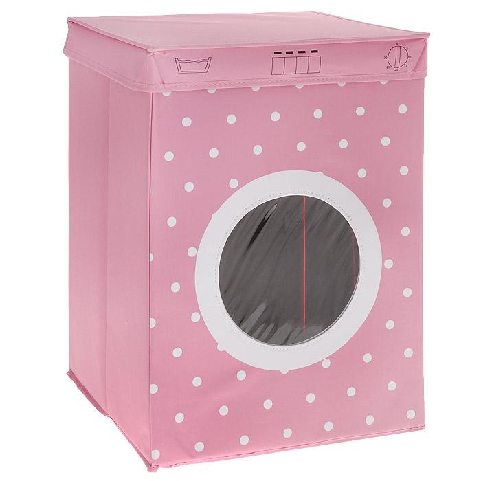 Корзина для белья Идея Стирка с крышкой, цвет: розовый, 70 лSTR-02