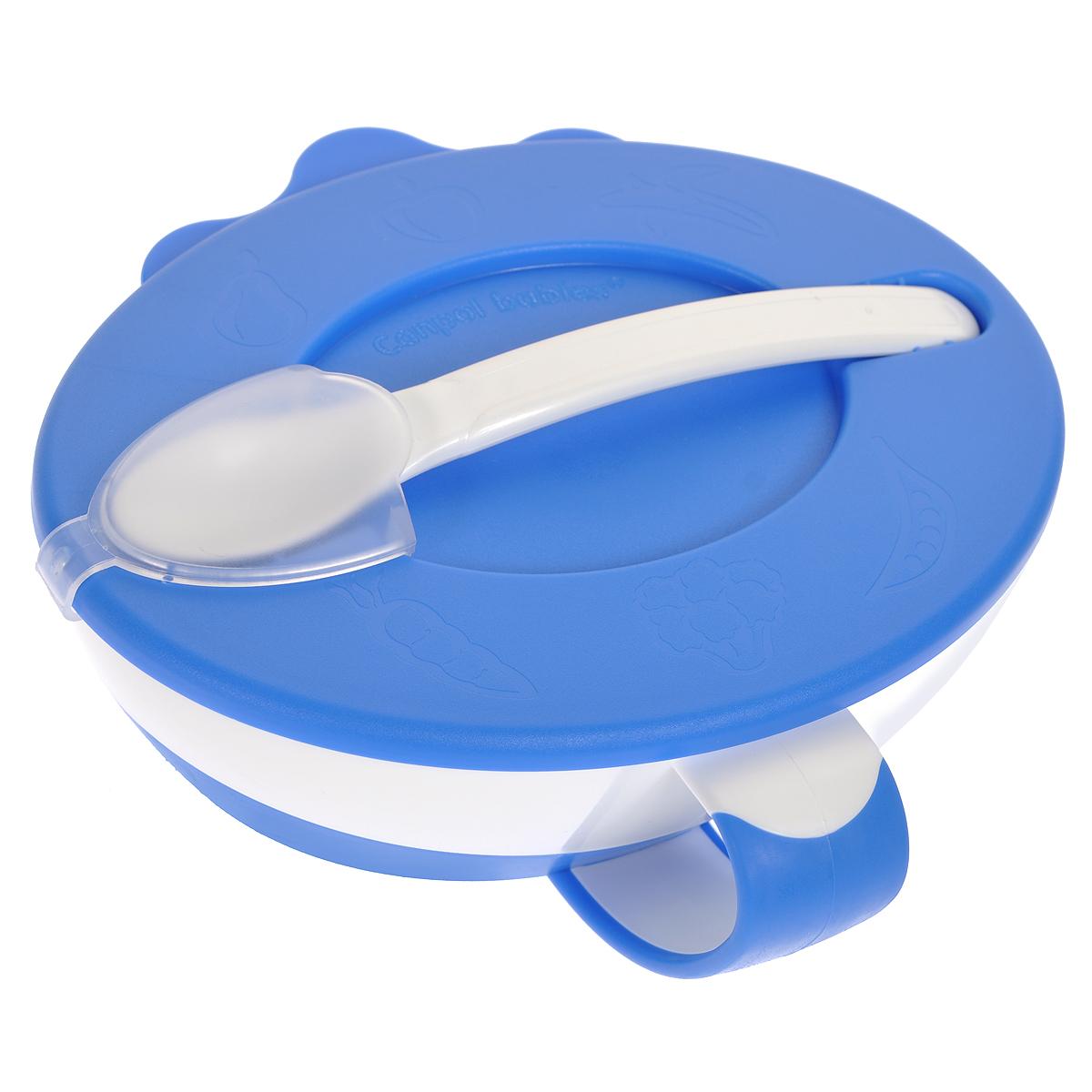 Canpol Babies Миска с ложечкой цвет голубой31/406_голубойМиска Canpol Babies прекрасно подойдет для кормления малыша и самостоятельного приема им пищи. Эргономичная форма с ручкой позволит удобно держать ее во время кормления и легко зачерпывать еду. Плотно закрывающаяся крышка позволит сохранить остатки еды. На крышке имеется специальный снимающийся фиксатор, при помощи которого крепится ложечка. Ее мягкий ковш не повредит нежные десны ребенка, а удлиненная ручка позволит легко зачерпывать еду до самого дна тарелочки. Прорезиненное дно миски не позволит ей скользить по поверхности. Благодаря своей практичности миска идеальна в путешествии. Объем миски 350 мл. Рекомендуемый возраст: от 9 месяцев.