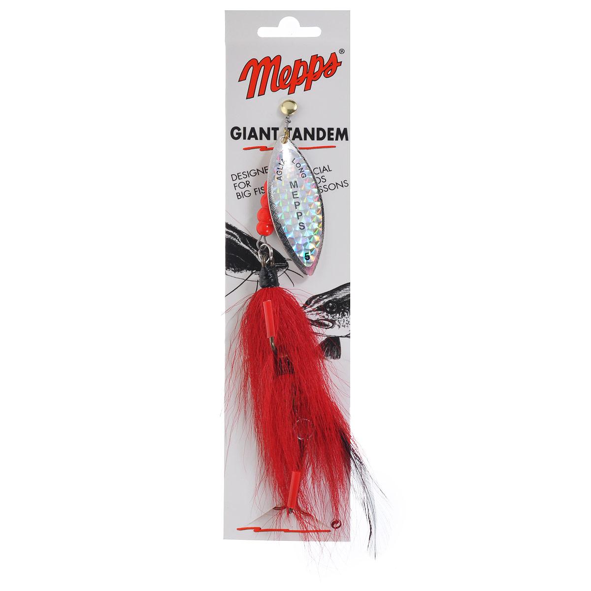 Блесна Mepps Giant Tandem Rainbo, вращающаяся, №54504Вращающаяся блесна Mepps Giant Tandem Rainbo имеет сходство с живой рыбкой, которое достигнуто подбором двух лепестков специальной формы. Стабильное вращение лепестков при любой скорости проводки допускает установку съемного груза-головки. В этом случае вы получаете прекрасную блесну для ловли на глубине.