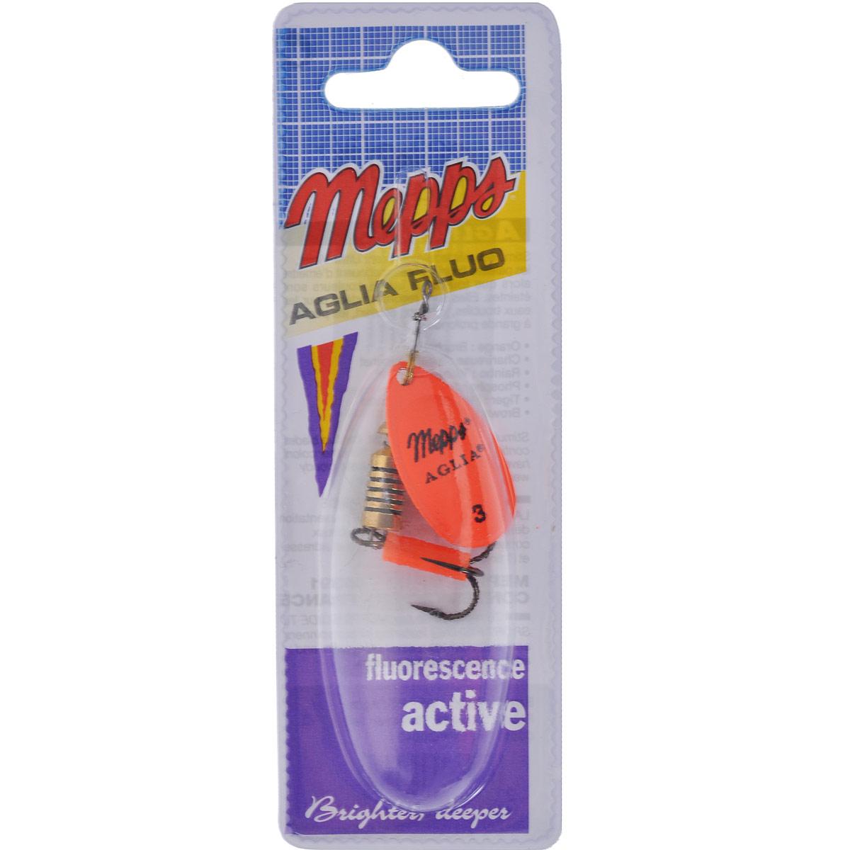 Блесна Mepps Aglia Fluo Orange, вращающаяся, №35774Вращающаяся блесна Mepps Aglia Fluo Orange выполнена в виде лепестка оранжевого неонового окраса, дающего преимущество при ловле рыбы в темное время суток, на большой глубине и в мутной воде. Такая блесна отлично видна даже при освещении ультрафиолетовыми лучами, доходящими до самых больших глубин. Стимулированная ультрафиолетом, она продолжает еще долго светиться.