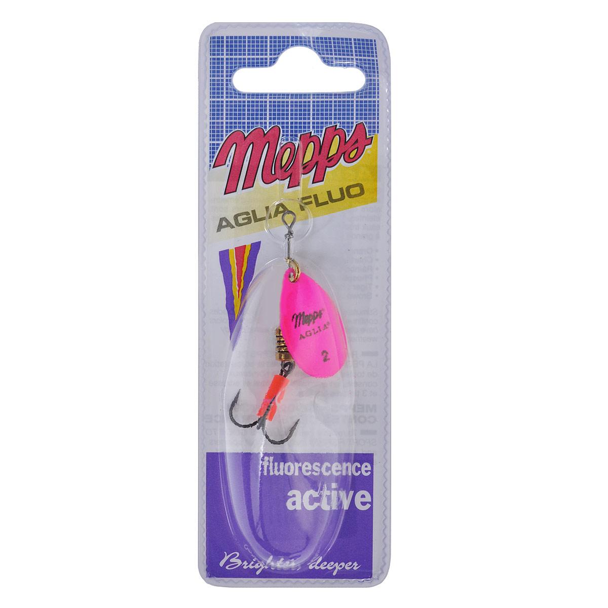 Блесна Mepps Aglia Fluo Rose, вращающаяся, №25780Вращающаяся блесна Mepps Aglia Fluo Rose выполнена в виде лепестка розового матового окраса, дающего преимущество при ловле рыбы в темное время суток, на большой глубине и в мутной воде. Такая блесна отлично видна даже при освещении ультрафиолетовыми лучами, доходящими до самых больших глубин. Стимулированная ультрафиолетом, она продолжает еще долго светиться.