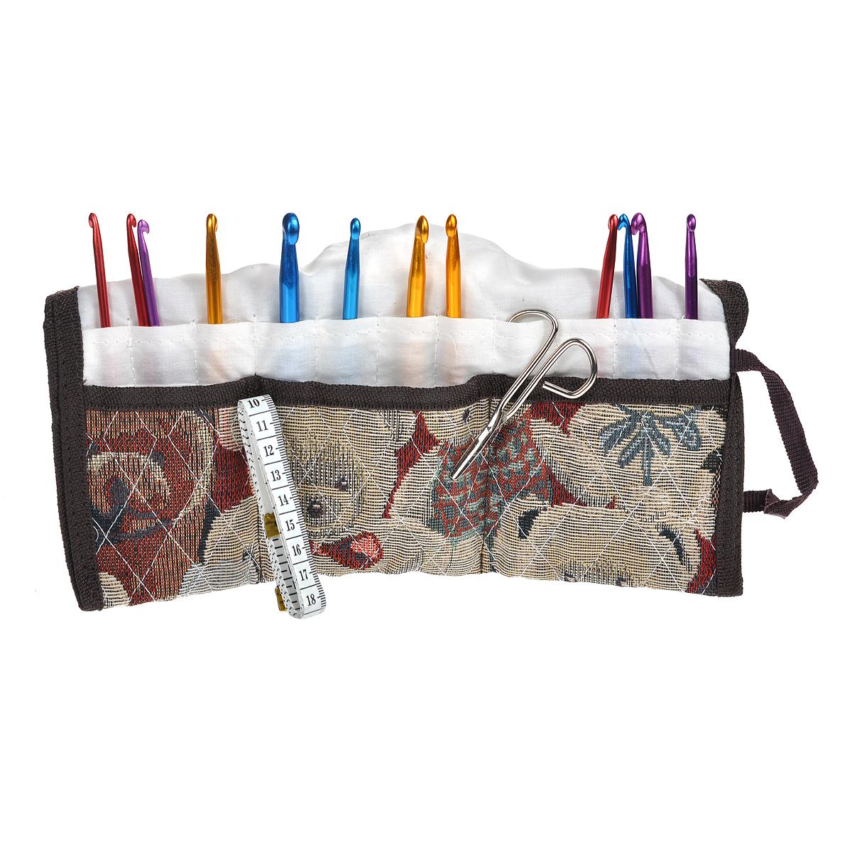 Набор крючков для вязания Bradex Мастерица, 15 предметовTD 0176Набор Bradex Мастерица состоит из 12 алюминиевых крючков (размером от 4 мм до 9 мм), что позволит вам использовать его для вязки различных предметов одежды (свитеров, жилетов, шапочек, перчаток) и всевозможных аксессуаров для дома (салфеток, пледов, ковриков, детских игрушек). Для вязания крючками из комплекта Мастерица подойдет любой вид пряжи - шерстяная, смешанная, хлопчатобумажная (лен, хлопок, вискоза), синтетическая (капрон, нейлон). Также в комплект входит сантиметр, ножницы и удобный текстильный чехол. Если вам нравится проводить свой досуг в занятиях рукоделием, то набор крючков Bradex Мастерица будет полезным в вашем доме! Комплектация: - крючок 9 мм, - крючок 8 мм, - крючок 7 мм: 2 шт, - крючок 6 мм: 2 шт, - крючок 5 мм: 3 шт, - крючок 4,5 мм, - крючок 4 мм, - ножницы, - длина ножниц: 7,5 см, - сантиметр, - чехол.